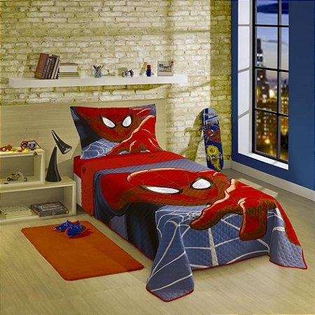 Colcha Quilt Solteiro Estampada Spider-Man Ultimate 1,60 m x 2,30 m Com 2 peças - Produto Importado