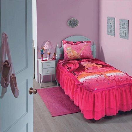 Colcha Matelassê Babado Tule Solteiro Estampada Barbie Bailarina 1,50 m x 2,15 m Com 5 peças - Produto Importado