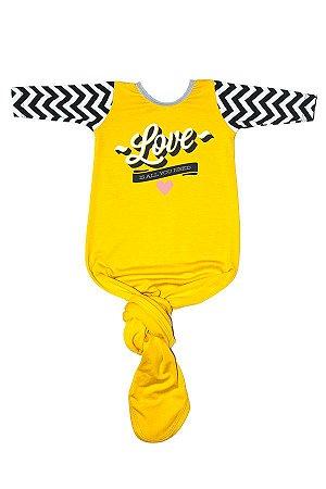 Body Pouch Love Amarelo Menina Manga Longa 0 - 3 Meses