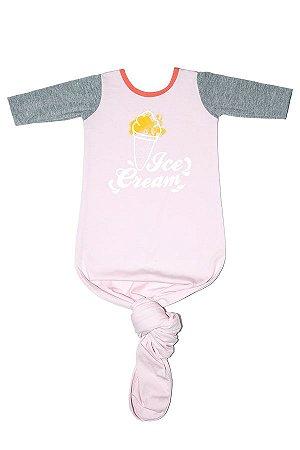 Body Pouch Ice Cream Rosa Bebe Menina Manga Longa 0-3 Meses - Comfy