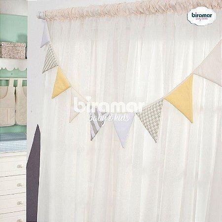 Bandeirinha de Tecido para Quarto de Bebê Patchwork Amarela - Biramar Baby