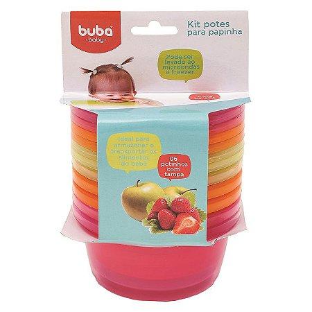 Kit 6 Potes com Tampa p/ Alimentos Rosa Laranja - Buba Baby