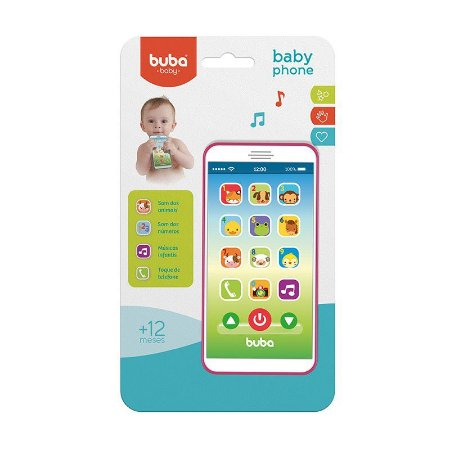 Celular Infantil Baby Phone Musical Rosa  - Buba