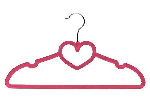 Cabide de Veludo Infantil Modelo Coração Rosa 3 Unidades - Clingo