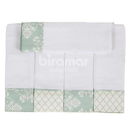 Conjunto 5 Fraldas Cremer Luxo - Jardim Secreto Arabesco Verde - Biramar Baby