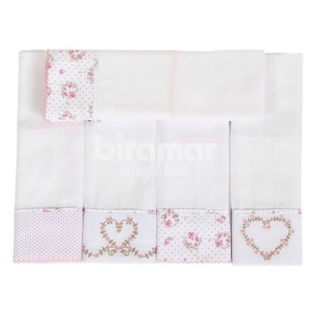 Conjunto 5 Fraldas Cremer Luxo Barrado e Bordado - Tiffany Floral Poá Rosa - Biramar Baby