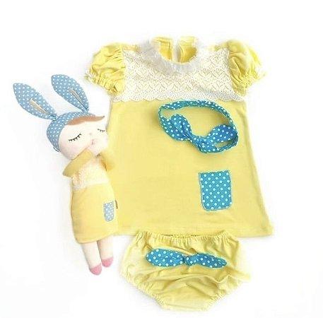 Vestido Infantil Angela Amarela Coleção Metoo