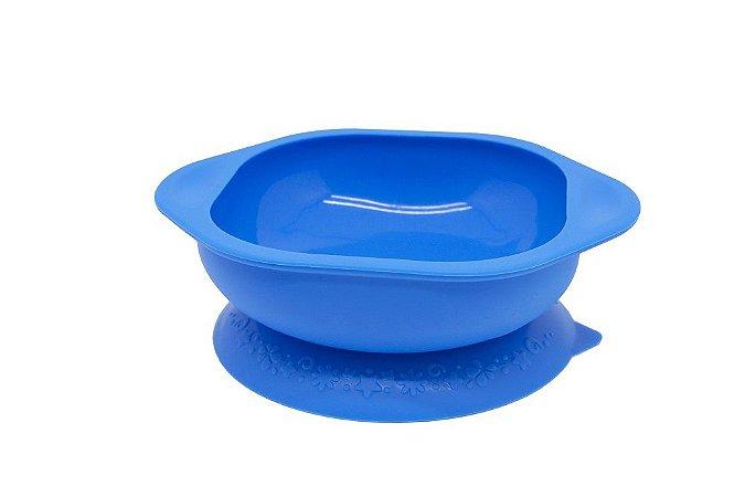 Tigela em Silicone com Sucção para Microondas Hipopótamo Azul - Marcus & Marcus