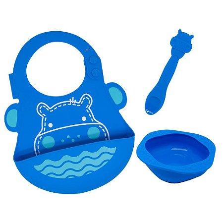Kit de Alimentação em Silicone Hipopótamo Azul - Marcus & Marcus