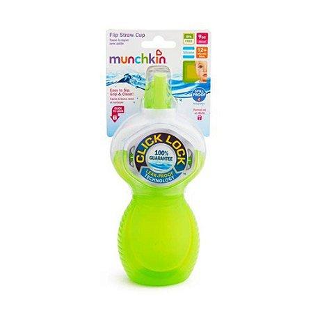 Copo com Canudo Click Lock 266 ml Verde - Munchkin