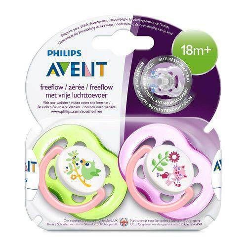 Chupetas Freeflow Dupla + 18 Meses rosa e verde - Philips Avent