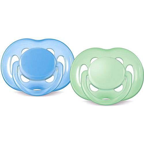 Chupetas  Freeflow Dupla 6 - 18 Meses Azul Verde - Philips Avent