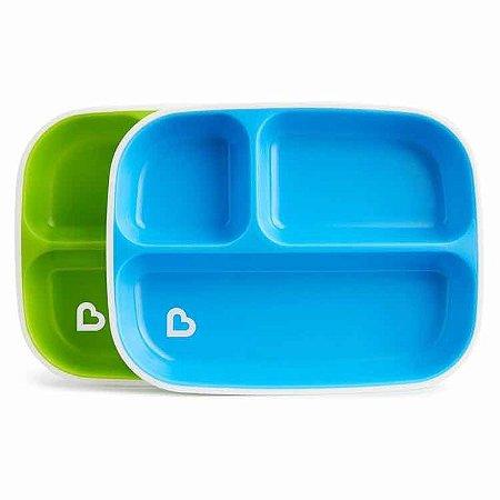 Conjunto 2 Pratos com divisória Verde e Azul Splash - Munchkin