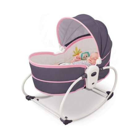 Cadeira Moises 5 em 1 cinza e rosa - Ibimboo