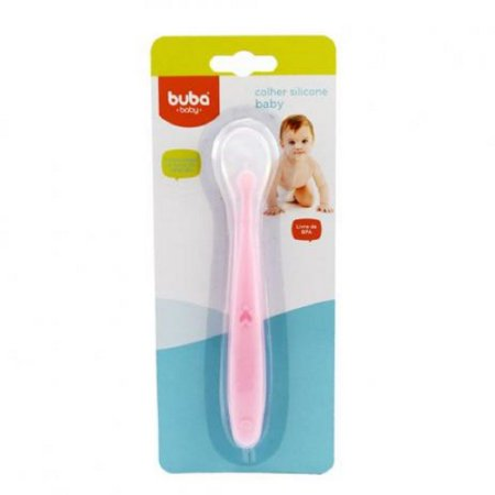 Colher Silicone Baby Rosa - Buba Baby