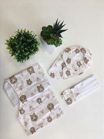 Kit Fofura 3 Pç Urso Oca Rosa - Minha Casa Baby