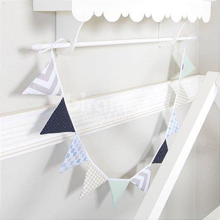 Bandeirinha de Tecido Patchwork Azul - Biramar Baby
