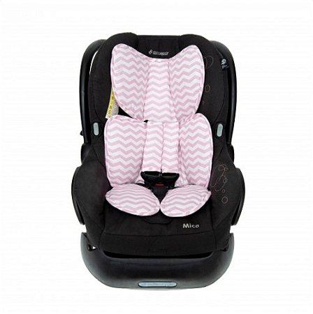 Protetor para Bebê Conforto Chevron Rosa - Momis Petit