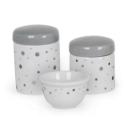 Kit Higiene 3PC Branco e Cinza - Modali