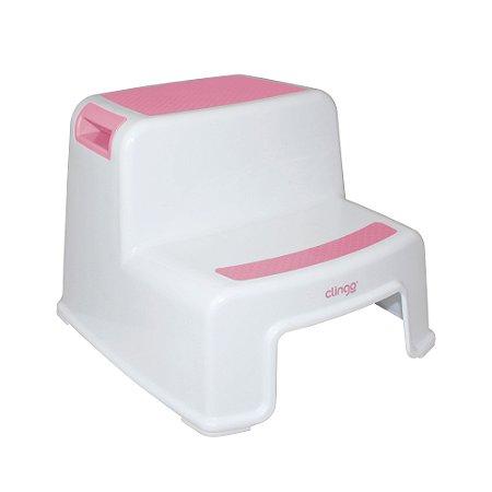 Banquinho para Higiene com 2 Degraus Rosa - Clingo