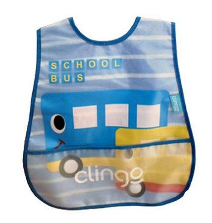 Babador Impermeável com Bolso Coletor School Bus - Clingo