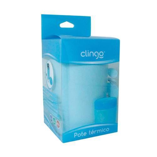 Pote Térmico Premium Com Colher Azul - Clingo