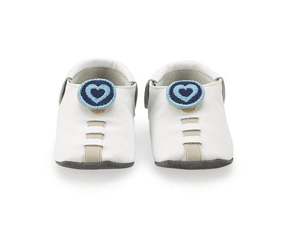 Sapatinho para Bebê Coração Branco e Azul 0 a 24 meses - Shupeas