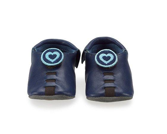 Sapatinho para Bebê Coração Azul Escuro 0 a 24 meses - Shupeas