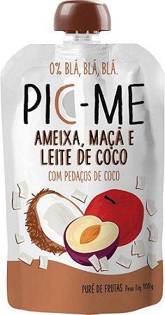 Purê de Frutas Ameixa, Maça e Leite de Coco 100g - Pic-Me