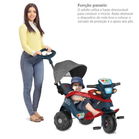 Triciclo Velobaby Reclinável Azul - Bandeirante