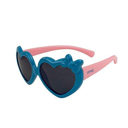Óculos Escuros Coração Azul e Rosa - Clingo