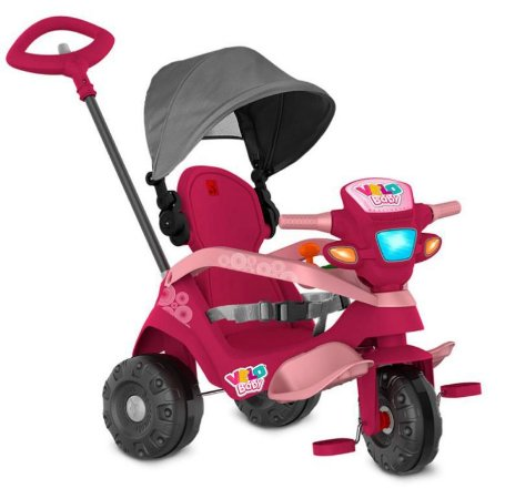 Triciclo Velobaby Reclinável Rosa - Bandeirante