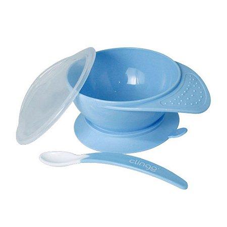 Prato com Ventosa e Colher Azul - Clingo