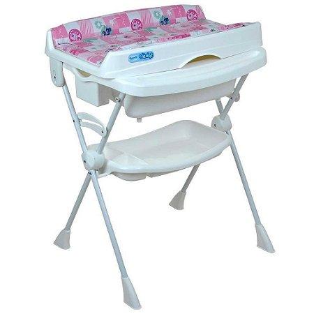 Banheira Bebê Suporte Splash Peixinhos Rosa - Burigotto