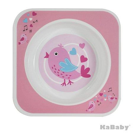 Prato Bowl Quadrado Pássaro Rosa - Kababy