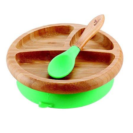 Prato de Bambu Ventosa e Colher de Silicone Verde - Avanchy