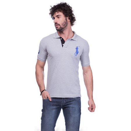 50780d07d5db8 Camisa Gola Polo Ralph Lauren Cinza - Loja na Grife