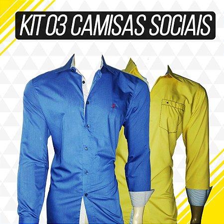 Kit com 03 Camisas Sociais - Loja na Grife 3e02bbc9656b3