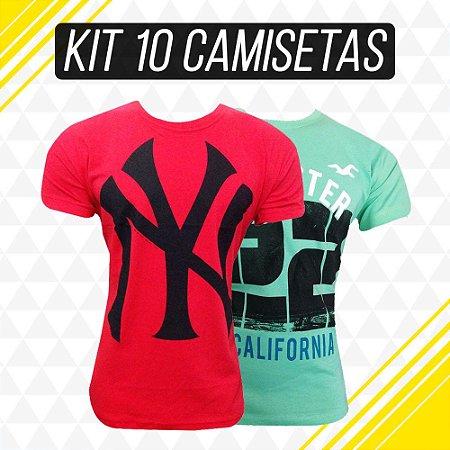Camisetas Masculina Em Atacado Kit 10 Peças Várias Marcas e Modelos ... 77bc9cf650924