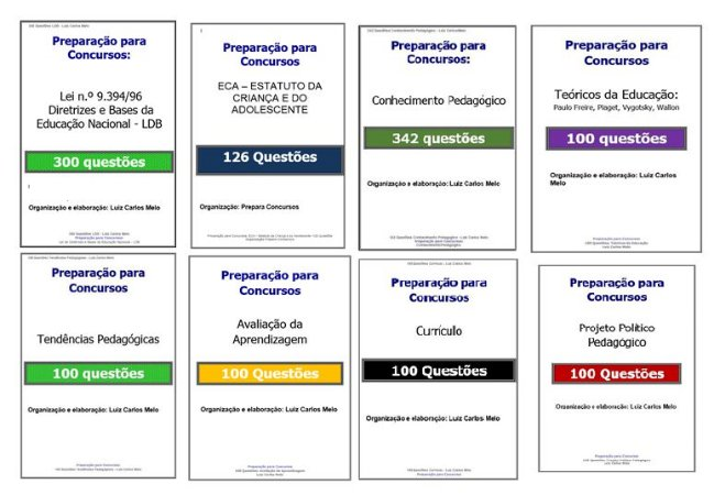 1268 Questões: Pacote 8 simulados de Conhec. Pedagógicos