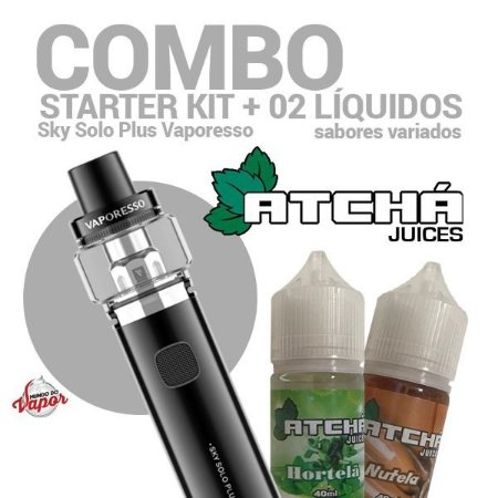 COMBO Kit Sky Solo Plus - Vaporesso + 2 líquidos Atcha