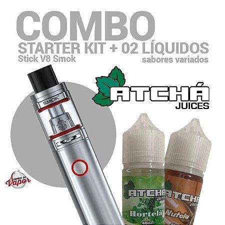 COMBO Kit Stick v8 - Smok + 2 líquidos Atcha