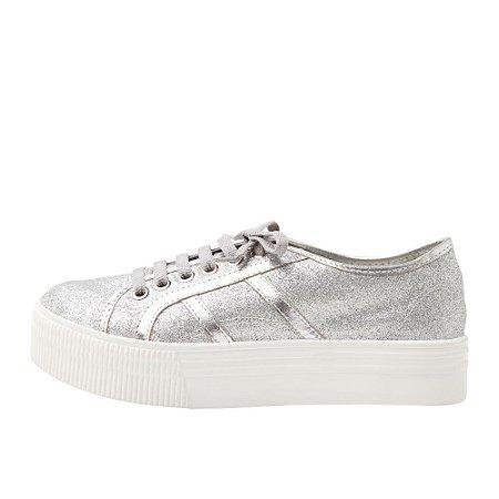 Sneaker Asapatilha High Glitter Prata