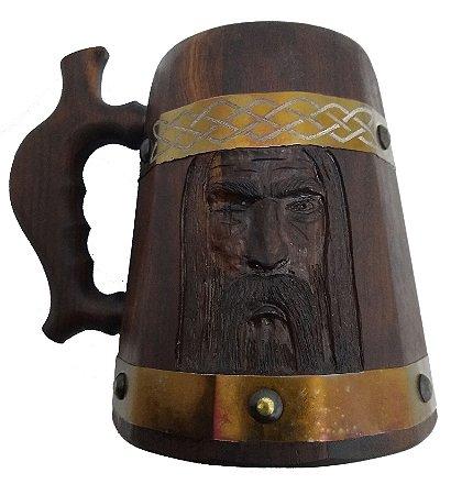 Caneca Medieval Madeira - Imbuia - Odin - Vikings - Hidromel - Cerveja