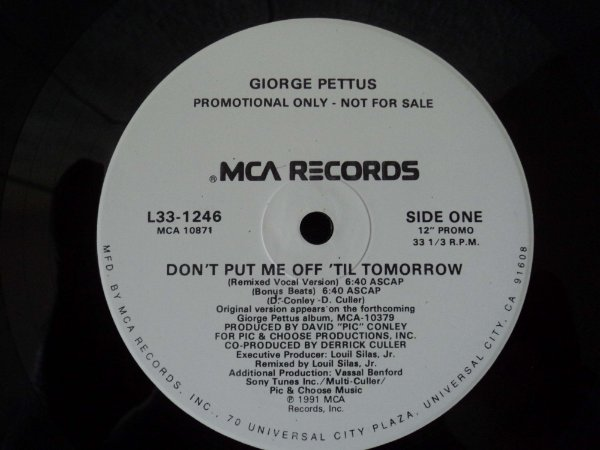 GIORGE PETTUS - DON'T PUT ME OFF TIL TOMORROW