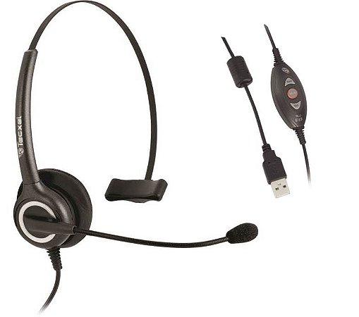 Tecxel TX11USB - Headset Monoauricular Profissional para PCs com Controle de Volume