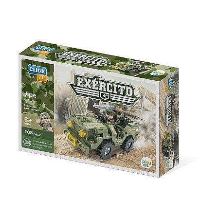 Blocos Tipo Lego Jipe do Exército 108 Peças Click It