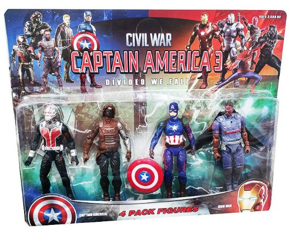 Kit 4 Bonecos Vingadores Capitão América 3 Civil War - Guerra Civil