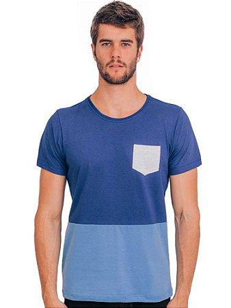 Camiseta Azul Bolso Palha