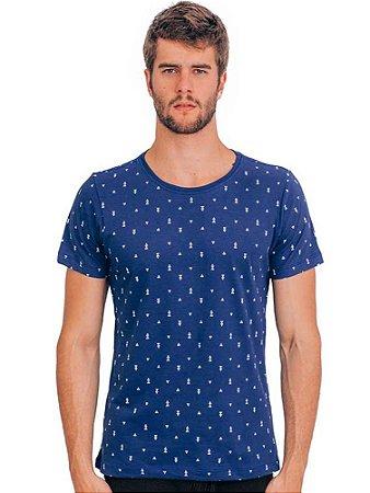Camiseta Azul Triângulos
